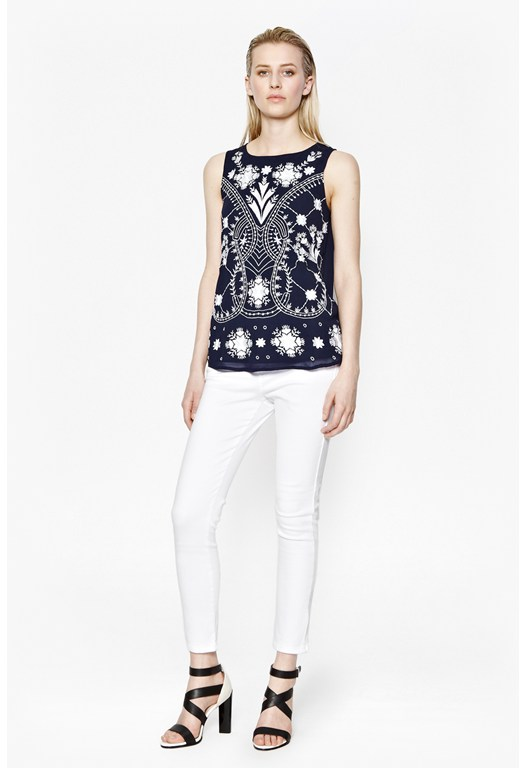 Kiko Stitch Embroidered Tunic Top
