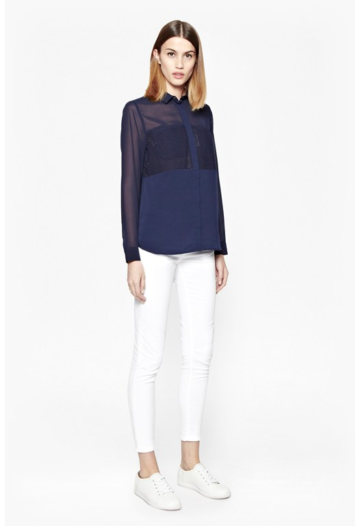 Georgie Sheer and Perforated Shirt