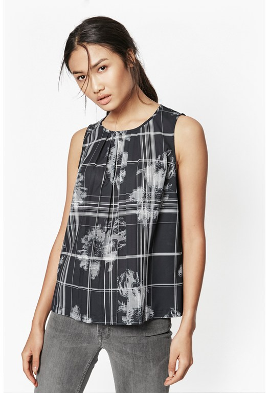 Wilderness Check Pleated Top