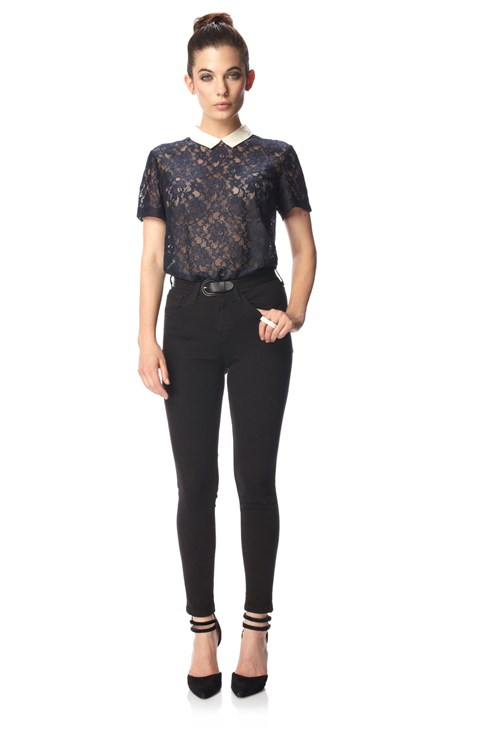 Vaity Lace Collar Top