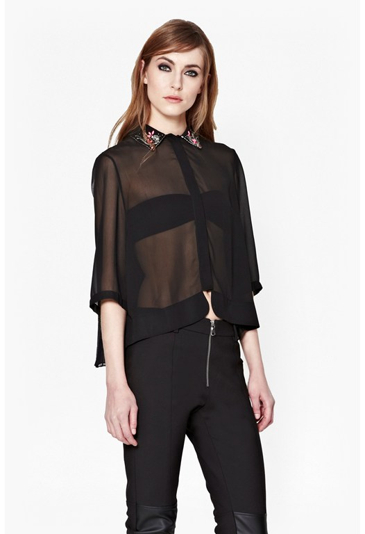 Siren Jewel Sheer Collared Shirt