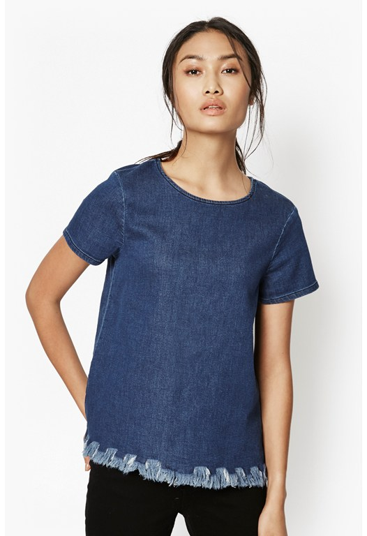 Cut Off Frayed Denim T-Shirt