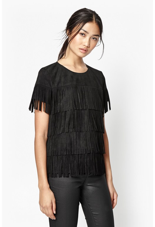 Hula Fringe Faux Suede Top