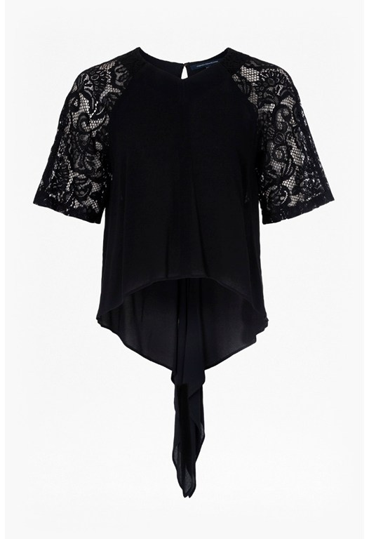 Taza Lace Waterfall Hem Top