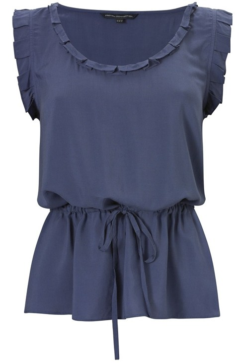 Scoop Neck Ruffle Top Blue