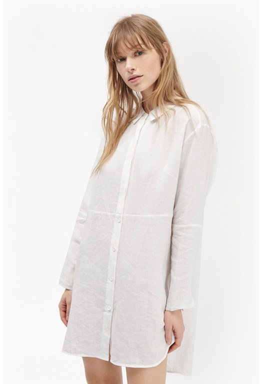 Lazy Linen Oversized Longline Shirt