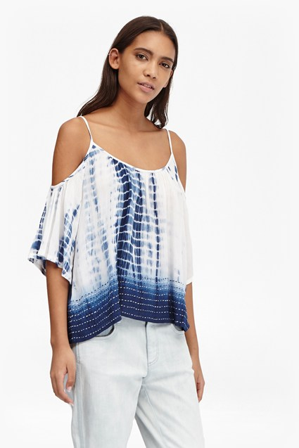 Holiday Wave Cold Shoulder Top