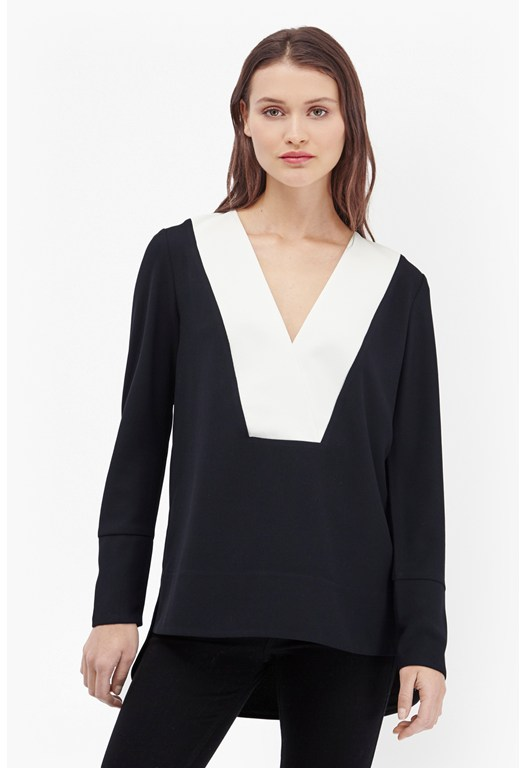 Arrow Crepe Colour Block Blouse