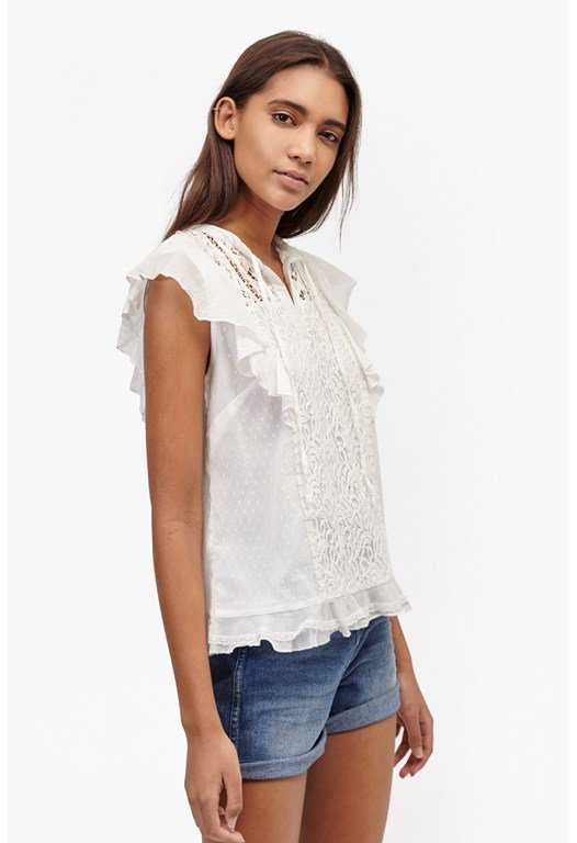Dayton Lace Frill Sleeved Top
