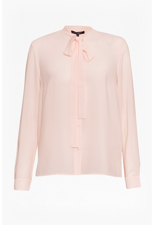 Pippa Plains Ls Tie Neck Shirt