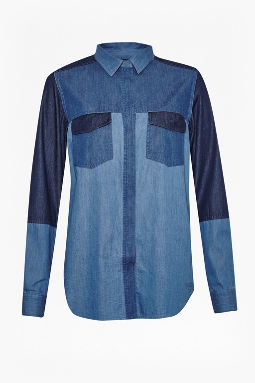 Complete the Look Koh Cotton Patchwork Denim Shirt