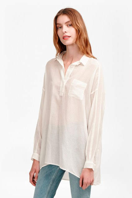 Sheer Check Pull Over Shirt