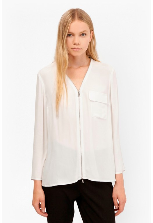 Belle Crepe Zip Up Blouse