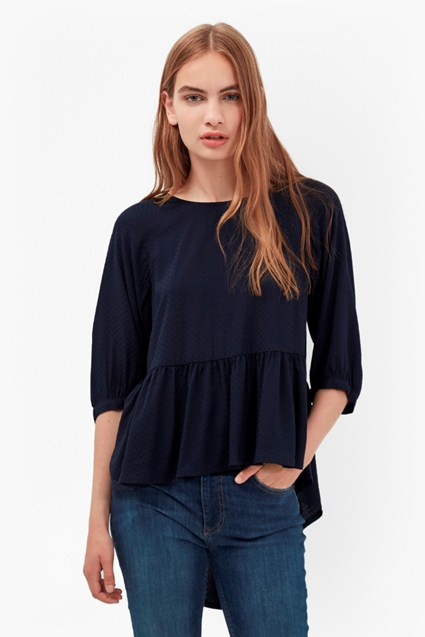 Empire Dot Flared Hem Top