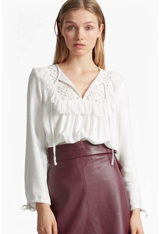 Ariana Sheer Tie Neck Blouse