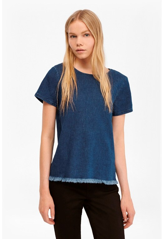 Cut Off Denim T-Shirt