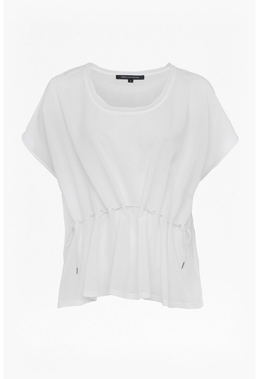 Classic Crepe Drawstring Waist Top