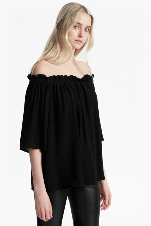Evening Dew Ruffle Bardot Top