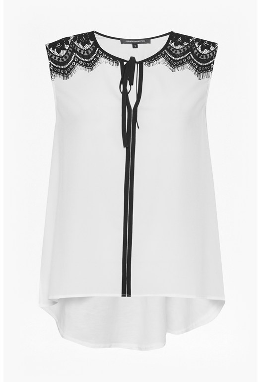 Belle Crepe Lace Shoulders Top