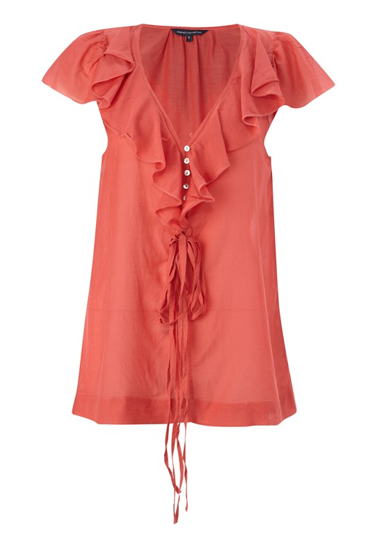 French Connection Cotton Blend Ruffle Top Pink