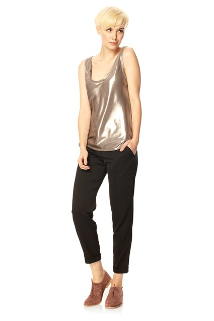 French Connection Light Weight Metallic Vest Top Grey