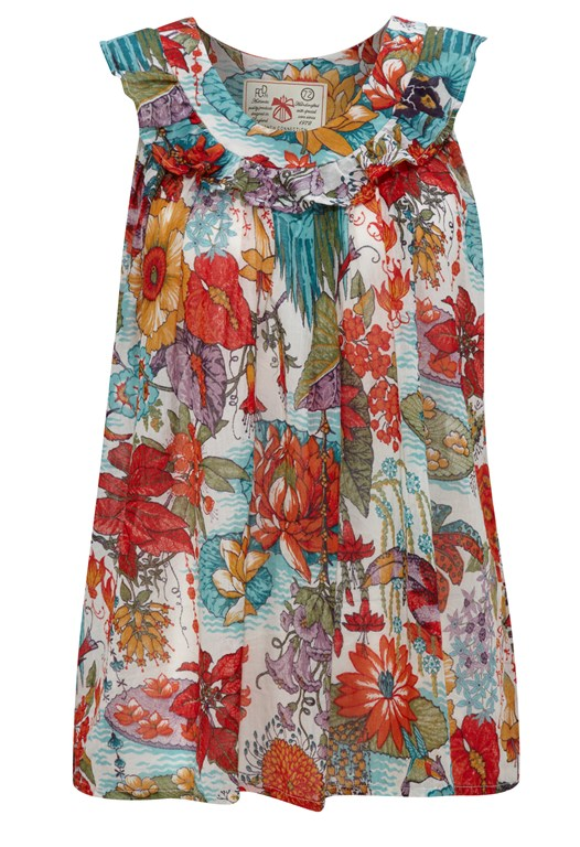 Floral Print Sleeveless Tunic Top Multi