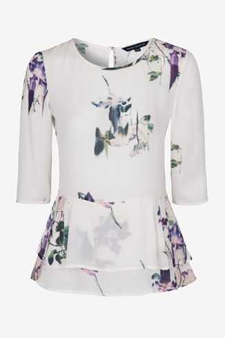 Water Flower Draped Peplum Top