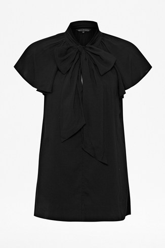 French Connection Pussy Bow Crepe Top White, Black