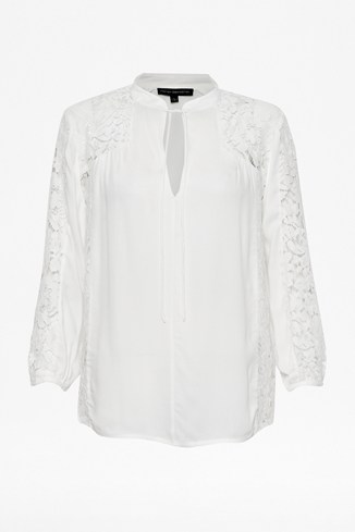 Fluid Crepe Lace Panel Shirt