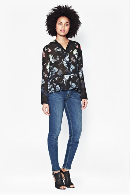 Nightfall Collarless Floral Shirt