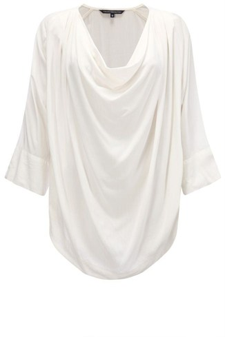 Jersey Cowl Neck Top Black, White