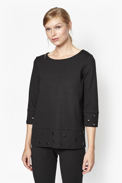 Ele Eyelet Embellished Top