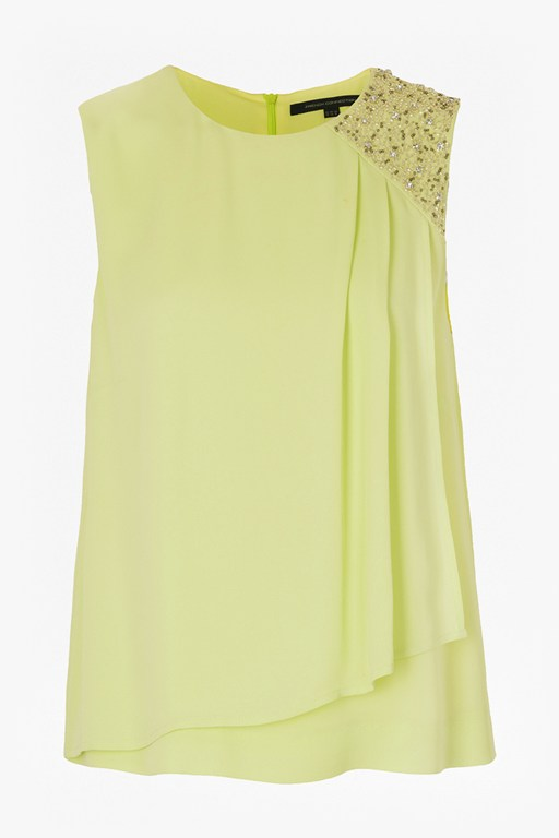 cecil drape embellished trim top