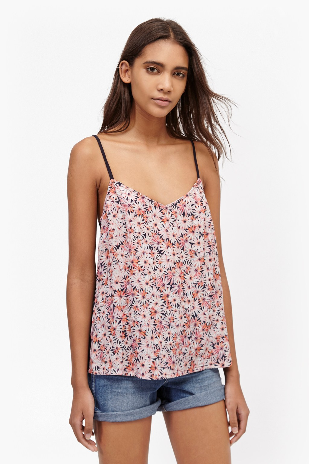 Bacongo Daisy Printed Strappy Top. loading images.