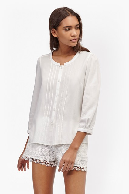 Empire Dot Embroidered Blouse