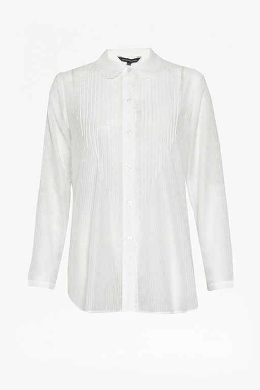 Complete the Look Dotty Sheer Scalloped Edging Shirt