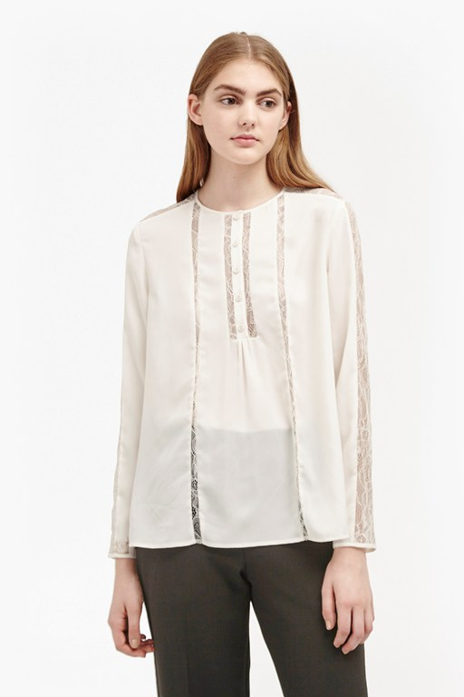 Complete the Look Polly Plains Lace Insert Blouse