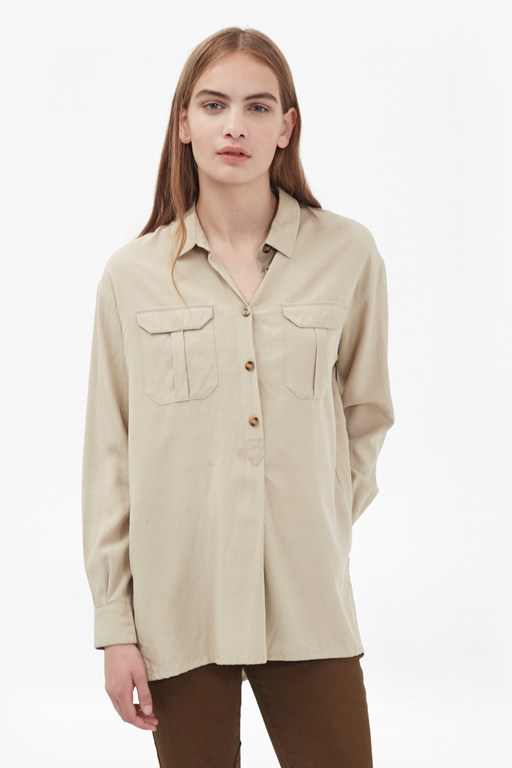 trooper tencel pull over shirt