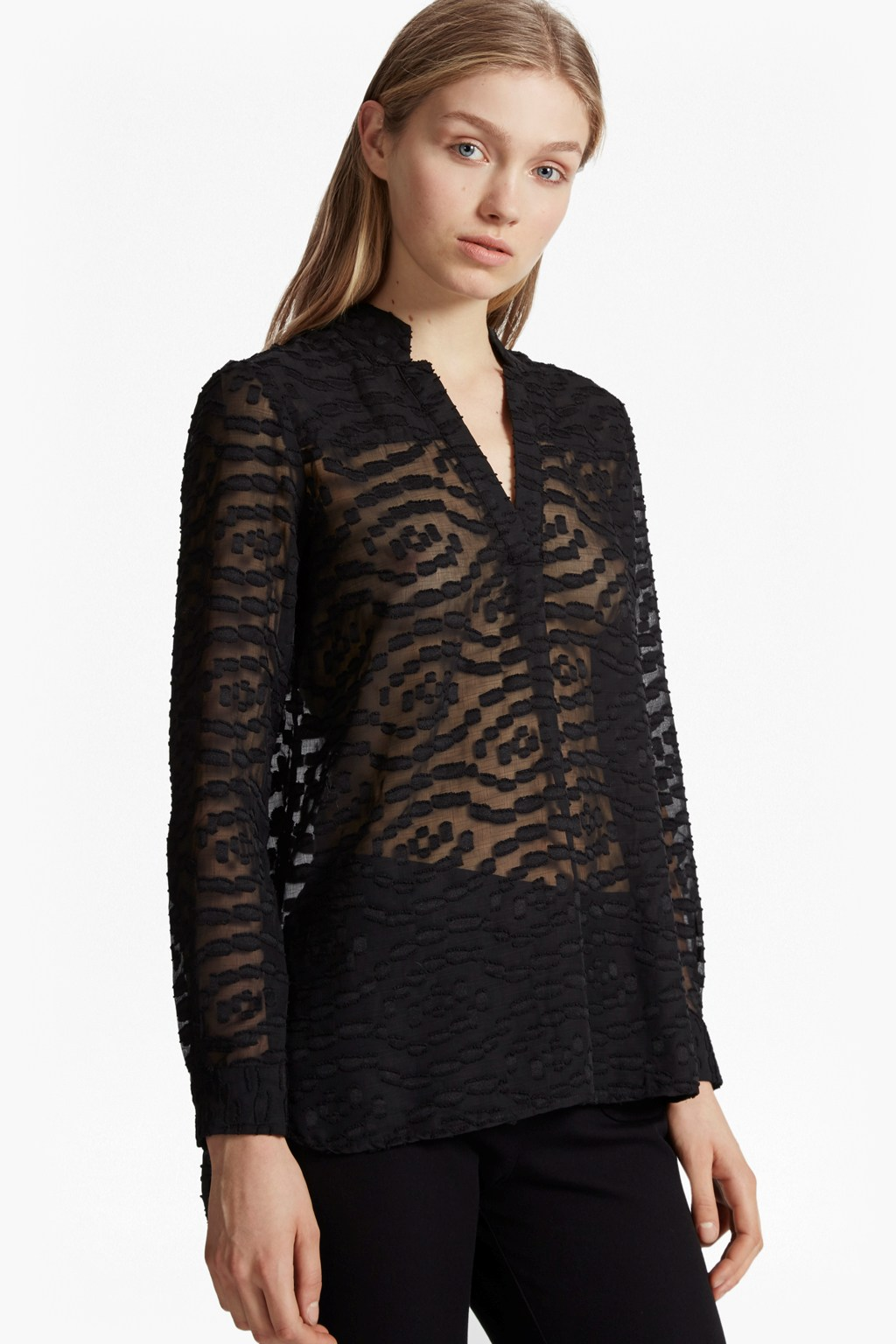 ruby sheer textured shirt collections french connection