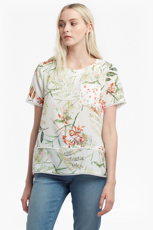 bluhm botero light printed crepe tunic