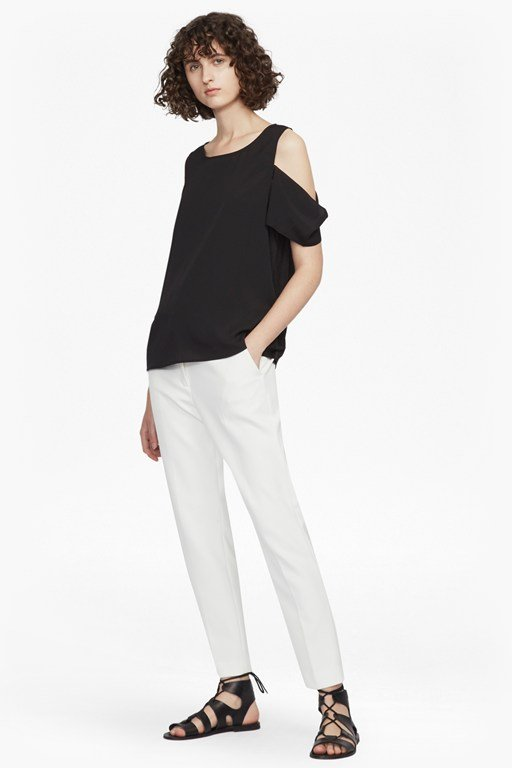 classic crepe light cold shoulder top