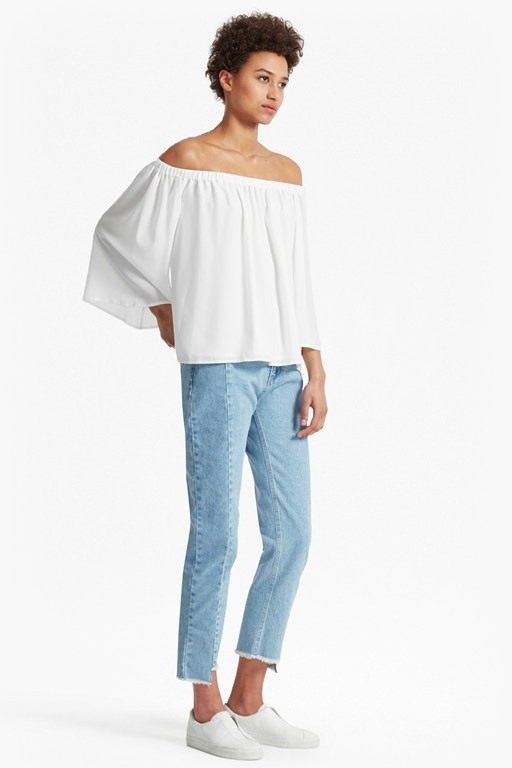 summer light crepe off the shoulder top