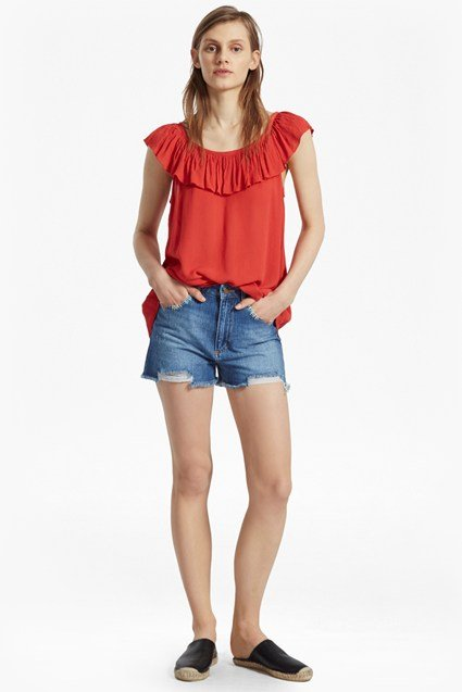 Afia Crinkle Ruffled Top