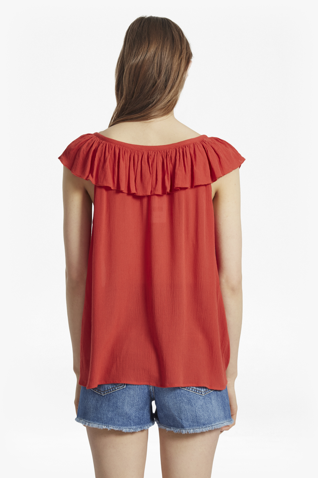 French Connection Afia Crinkle Ruffled Top Cheap Sale Ebay Authentic Cheap Price FL1Hofpo0n