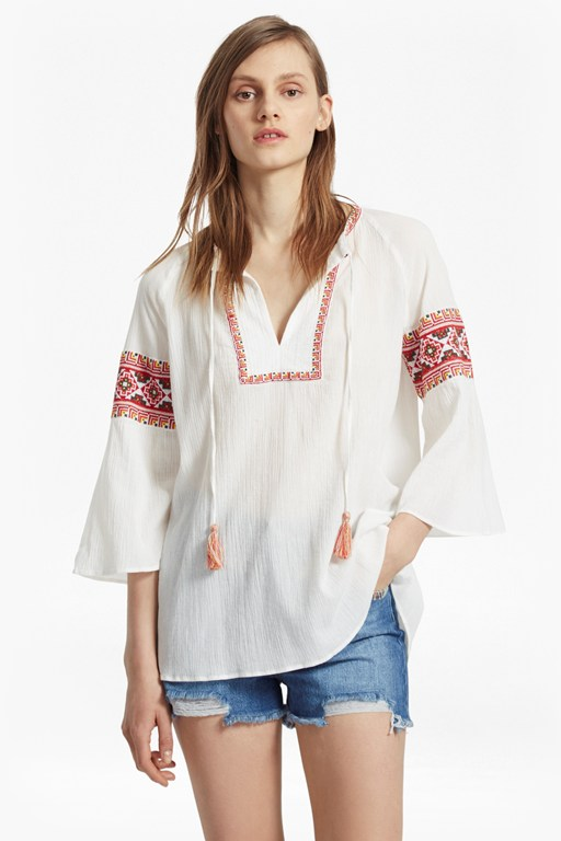 adanna crinkle embroidered smock top