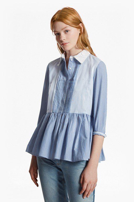 nuru schiffley striped peplum shirt