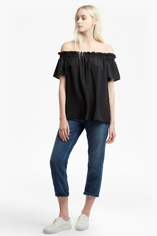 crepe light off the shoulder top