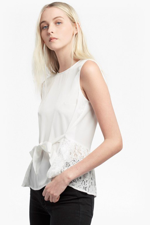 midnight plains lace crepe top