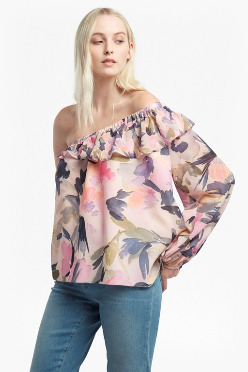 catlett georgette one shoulder blouse