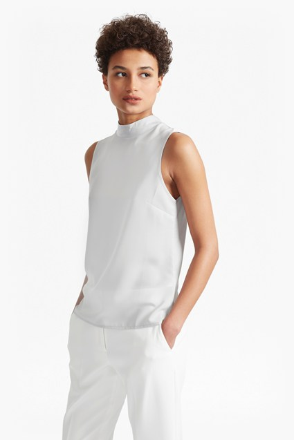 Crepe Light Mock Neck Top